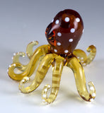 Octopus Miniature Yellow Spotted Borosilicate Glass Figurine 3