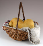 Puppy Sleeping In Basket With Blankets Dog Figurine