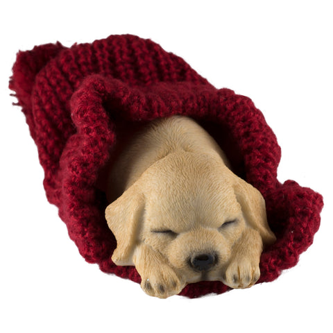 Golden Puppy Sleeping In Knitted Hat Dog Figurine