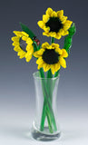glass flower bouquet sunflowers