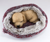 Golden Puppy Sleeping In Fuzzy Bed Dog Figurine