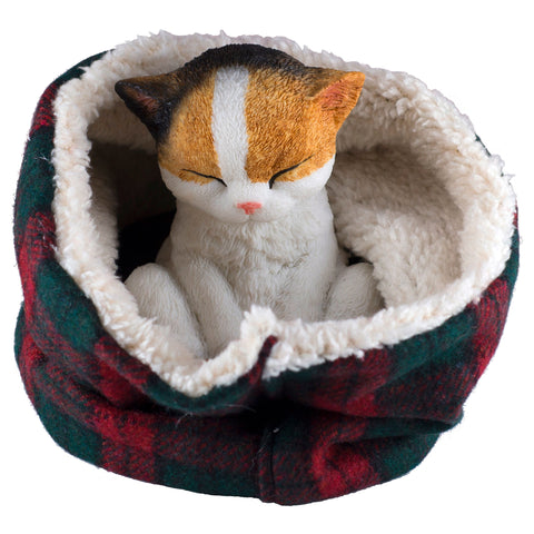 Calico Kitten Sleeping In Fuzzy Bed Cat Figurine HBH1