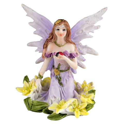 Mini Purple Fairy In Flowers Figurine Glittery