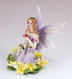 Mini Purple Fairy In Flowers Figurine Glittery 2