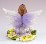 Mini Purple Fairy In Flowers Figurine Glittery 3