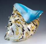 Large Hand Blown Glass Amber White and Blue Seashell Figurine