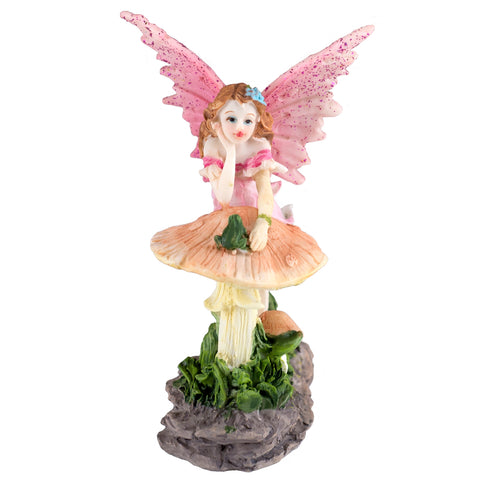 Mini Pink Fairy Leaning On Mushroom Figurine Glittery