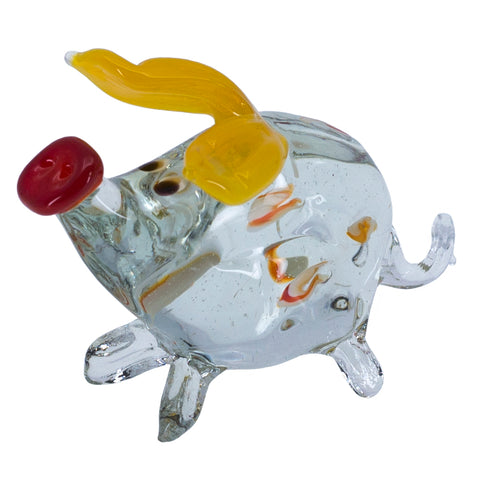 Lampwork Hand Blown Glass Clear Spotted Pig Figurine 1