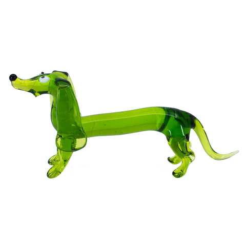 Lampwork Hand Blown Glass Green Dachshund Dog Figurine 1