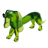 Lampwork Hand Blown Glass Green Dachshund Dog Figurine 2