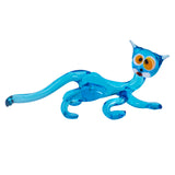 Lampwork Hand Blown Glass Blue Cat Figurine 1