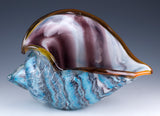 Large Hand Blown Glass Blue and Purple Seashell Figurine 2