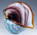 Large Hand Blown Glass Blue and Purple Seashell Figurine 3