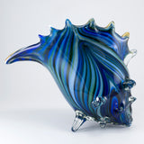Large Hand Blown Glass Blue Striped Seashell Figurine 3
