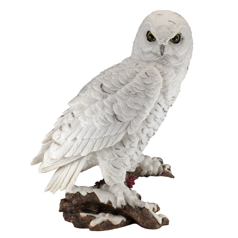 White Snowy Owl On Log Figurine 5