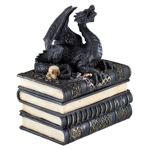 Black Dragon On Books Figurine Trinket Box 1