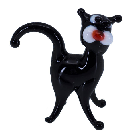 Miniature Lampwork Hand Blown Glass Standing Black Cat Figurine 1