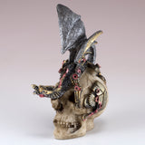 Mini Steampunk Dragon Crouched Down On Skull Figurine 2