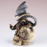 Mini Steampunk Dragon Crouched Down On Skull Figurine 3