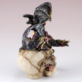 Mini Steampunk Dragon Crouched Down On Skull Figurine 4
