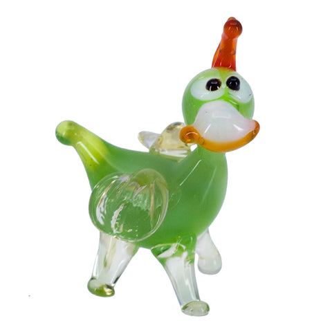 Miniature Lampwork Hand Blown Glass Green Standing Dragon Figurine 5