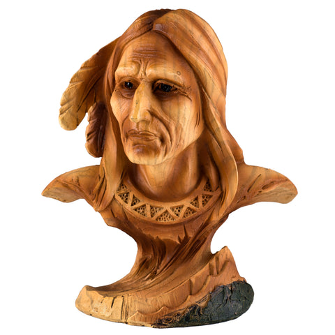 Mini Bust Native American Indian Brave Faux Carved Wood Figurine 1