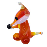 Miniature Lampwork Hand Blown Glass Upright Fox Figurine 2