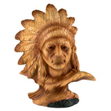 Mini Bust Native American Indian Chief Faux Carved Wood Figurine 1