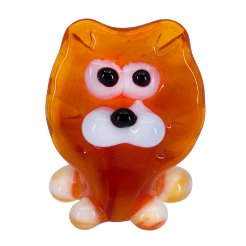 Miniature Lampwork Hand Blown Glass Orange Mane Lion Figurine 1