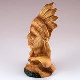 Mini Bust Native American Indian Chief Faux Carved Wood Figurine 4