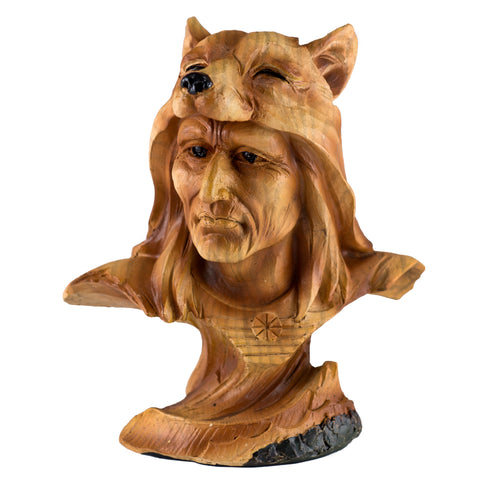 Mini Bust Native American Indian w/Wolf Cap Faux Carved Wood Figurine 1
