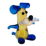 Miniature Lampwork Hand Blown Glass Blue Dog With Bone Figurine 1