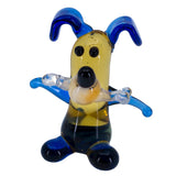 Miniature Lampwork Hand Blown Glass Blue Dog With Bone Figurine 2