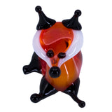 Miniature Lampwork Hand Blown Glass Laying Fox Figurine 2