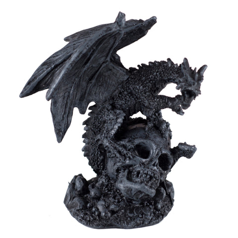 Mini Black Dragon Guarding Skull Figurine 1
