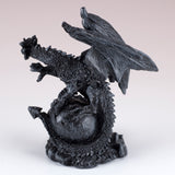 Mini Black Dragon Guarding Skull Figurine 3