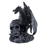 Mini Black Dragon Climbing Skull Figurine 1
