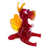 Miniature Lampwork Hand Blown Glass Red Sitting Dragon Figurine 1