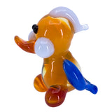 Miniature Lampwork Hand Blown Glass Orange Duck Figurine 2