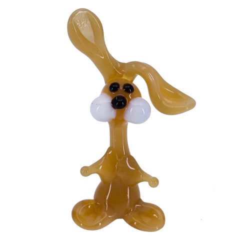 Miniature Lampwork Hand Blown Glass Tan Bunny Rabbit Figurine 1