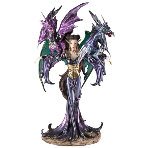 Fairy Figurine Purple With Two Dragons