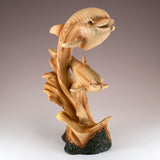 Dolphins On Waves (2) Faux Carved Wood Look Figurine 2