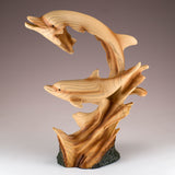 Dolphins On Waves (2) Faux Carved Wood Look Figurine 3