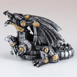 Mini Steampunk Dragon Silver Colored Figurine 2