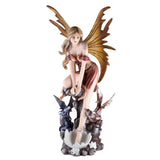 Orange Fairy With Two Baby Dragon Hatchlings Figurine