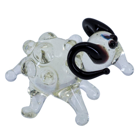 Miniature Lampwork Hand Blown Glass Clear Sheep Ram Figurine 1