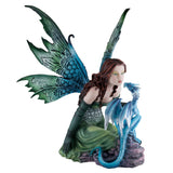 "Large Green Fairy With Whispering Dragon Figurine 14""H"