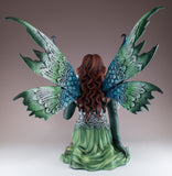 Large Green Fairy With Whispering Dragon Figurine