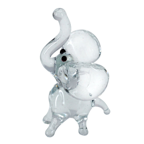 Miniature Lampwork Hand Blown Glass Clear Standing Elephant Figurine 1