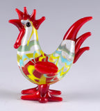Miniature Hand Blown Glass Wavy Red & Yellow Rooster Chicken Figurine 2